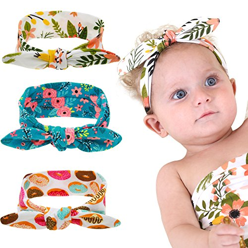 (inSowni Bow Tie Bunny Ears Headband Pack for Baby Girl Kids Toddlers Infants)