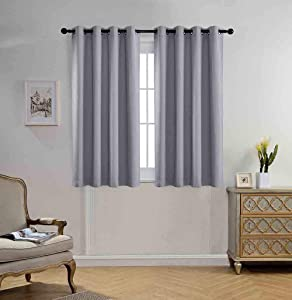 Miuco Blackout Curtains Room Darkening Curtains Textured Grommet Window Curtains for Bedroom 2 Panels 52x63 Inch Long Silver