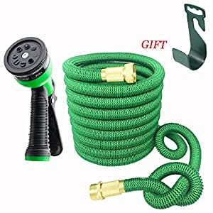 Magic Hose 75 Feet Expanding Heavy Duty Expandable Strongest Garden Water Hose with Solid Brass Connector and 8-pattern Spray Nozzle ( green ) + Hose Holder as a Gift