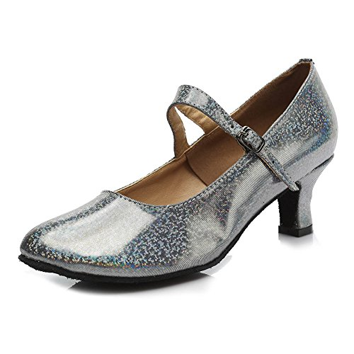 HROYL Women MF5-1605 Grey PU Latin Dance Shoes 7 UK EbzZmrYv