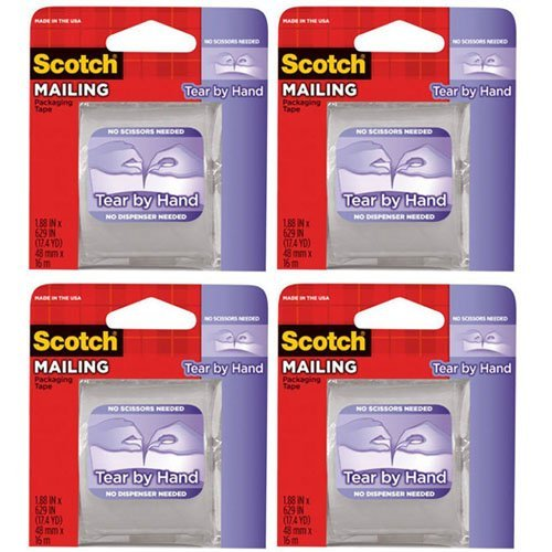 3M Scotch Tear By Hand Packaging Tape 1.88''X629'', 4 Pack (3841)