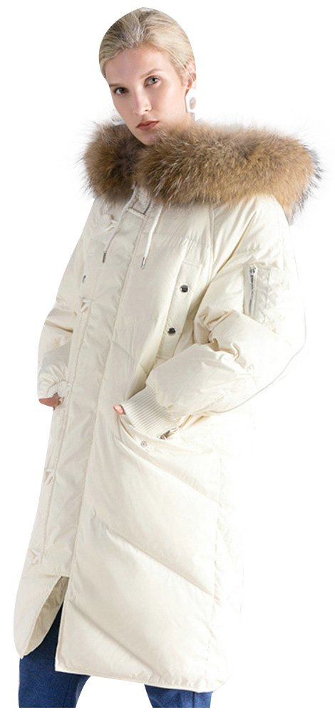 ilishop Women's High-end Long Down Jacket Raccoon Fur Collar Stylish Western Style White L(Bust 52.4'') by ilishop