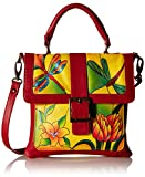 Anuschka Handpainted Leather 8074-DGP-Y Flap Saddle Bag, Dragonfly Glass Painting/Yellow, One Size