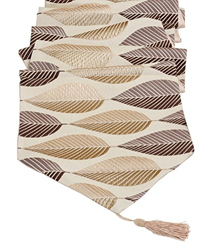 LivebyCare Multi-Size Elegant Leaf Table Runners for Home Dining Table Decorative Coffee Table 13 by 80 Inch Polyester Jacquard Tea Table Runner - Runner Table Leaves