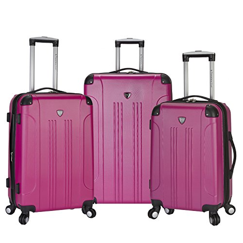 Travelers Club 3 Piece Original ''Chicago Collection'' Hardside +25% Expandable Luggage Set Includes 28'' Upright, 24'' Suitcase, and 20'' Carry-On Luggage, Fuchsia Color Option by Traveler's Club