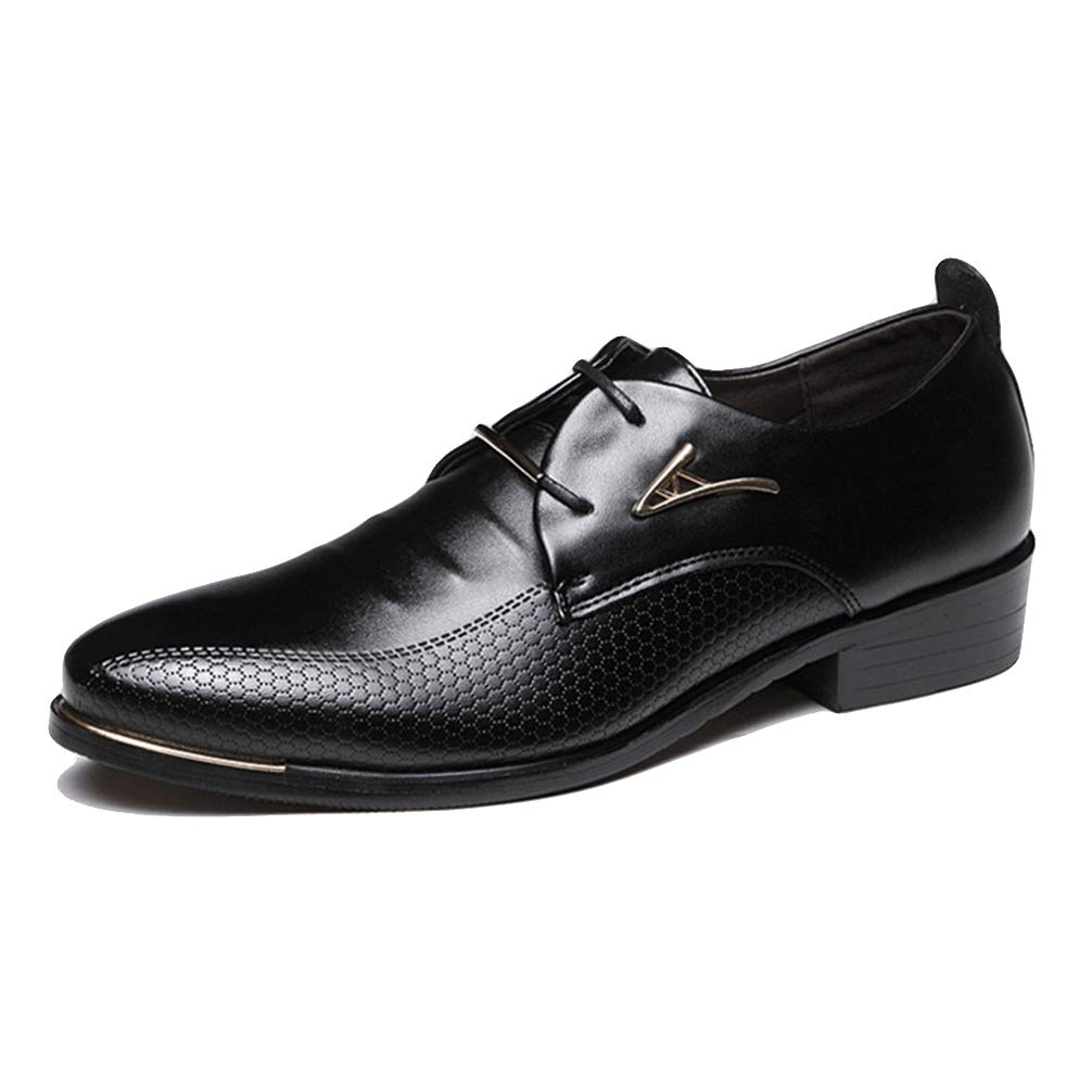 Mens Oxford Shoes Pointed Toe Lace Up Brown/Black Business Dress Shoes
