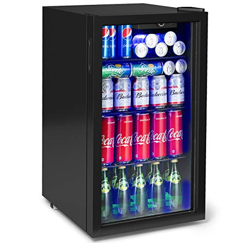 top beverage refrigerator Costway 120 Can Beverage Refrigerator and Cooler