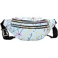Feminino Holographic Fanny Packs for Women Cute Waist Packs Shiny Waist Bum Bag Waterproof for Travel Party Festival…