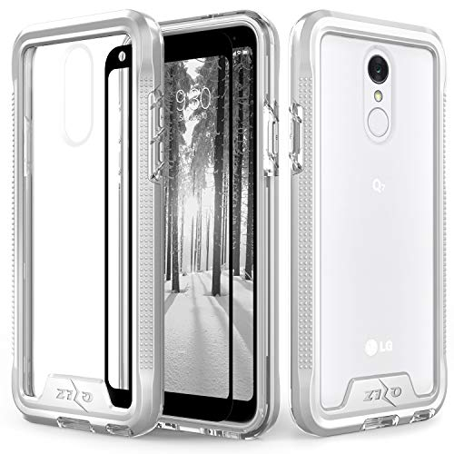 Zizo ION Series Compatible with LG Q7+ Case Military Grade Drop Tested with Tempered Glass Screen Protector LG Q7 Plus Silver Clear