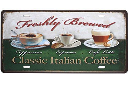 Sumik Classic Italian Coffee Cappuccino Espresso Cafe Latter, Metal Tin Sign, Vintage Art Poster Plaque Kitchen Cafe Home Wall Decor - Espresso Tin