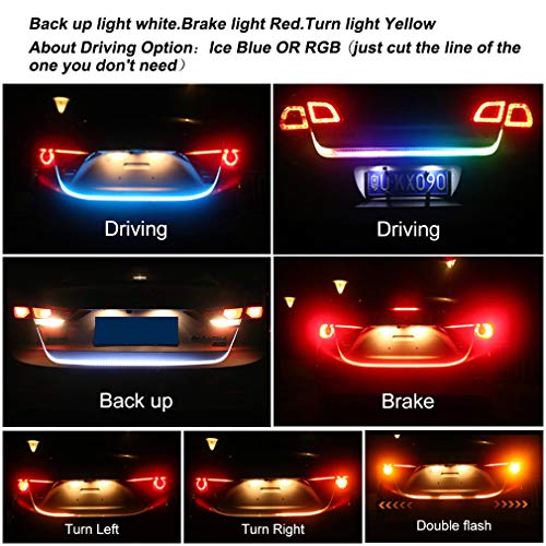 Car Tailgate luggage trunk Strip light Brake Tail Rear Lamp DRL daytime running lights Amber Turn Signal Flow 12V 120cm ()