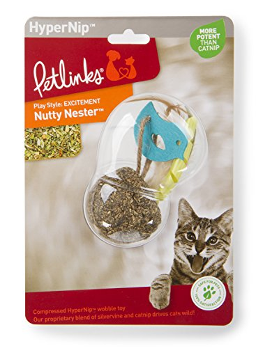 Petlinks 49727 Nutty Nester Compressed Hyper Nip Catnip Toy with Feathers