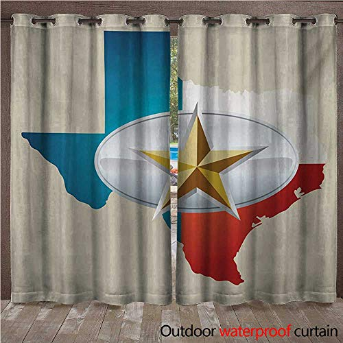 WilliamsDecor Texas Star Outdoor Balcony Privacy Curtain Cowboy Belt Buckle Star Design with Texas Map Southwestern Parts of America W72 x L96(183cm x 245cm)