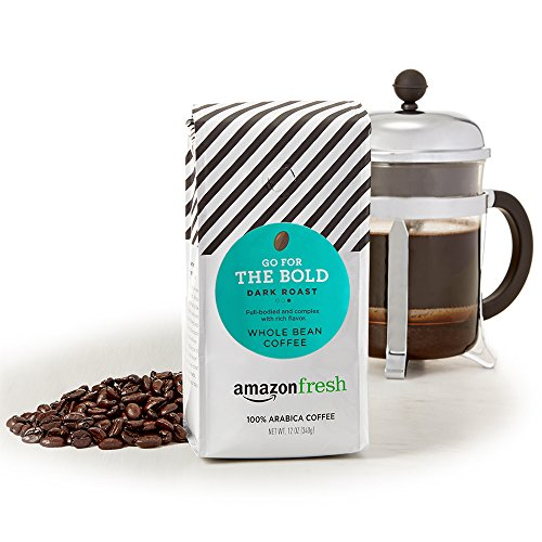 AmazonFresh Dark Roast Whole Bean Coffee, 12 Ounce (Pack of 3)