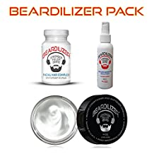 Beardilizer ® Value Pack: Dietary Supplement 90 Caps + Beard Growth Spray 4 Oz + Beard Growth Conditioner And Softener Cream 4 oz