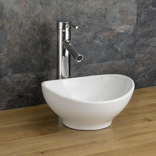 Small Narrow Freestanding Countertop Cloakroom Oval White Sink 300mm x 280mm Bologna