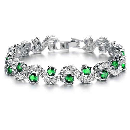 OPK Jewelry Platinum Plated Bling Rhinestone Cubic Zirconia Bracelet for Women Wedding Jewelry