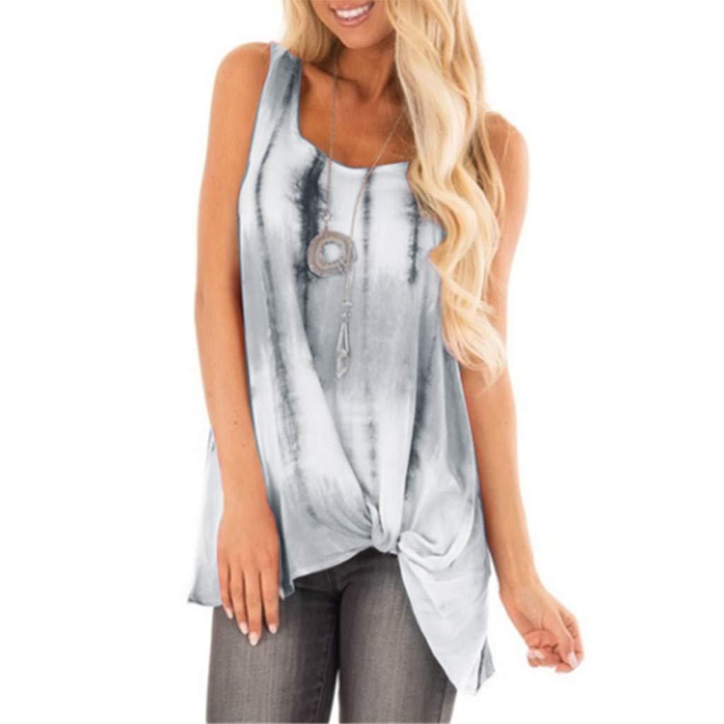 Mysky Fashion Women Summer Casual Brief Gradient Color Knot Hem Sleeveless Plus Size Tank Top Vest T-Shirt Blouse