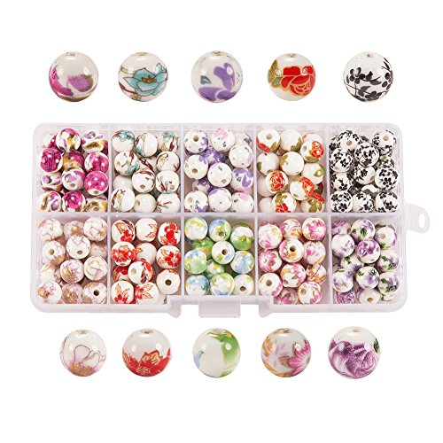 PH PandaHall 1 Box (About 200pcs) 10 Styles Traditional Chinese Handmade Porcelain Flower Round Beads 8mm Exquisite Decal Spacer - Style Porcelain Phone
