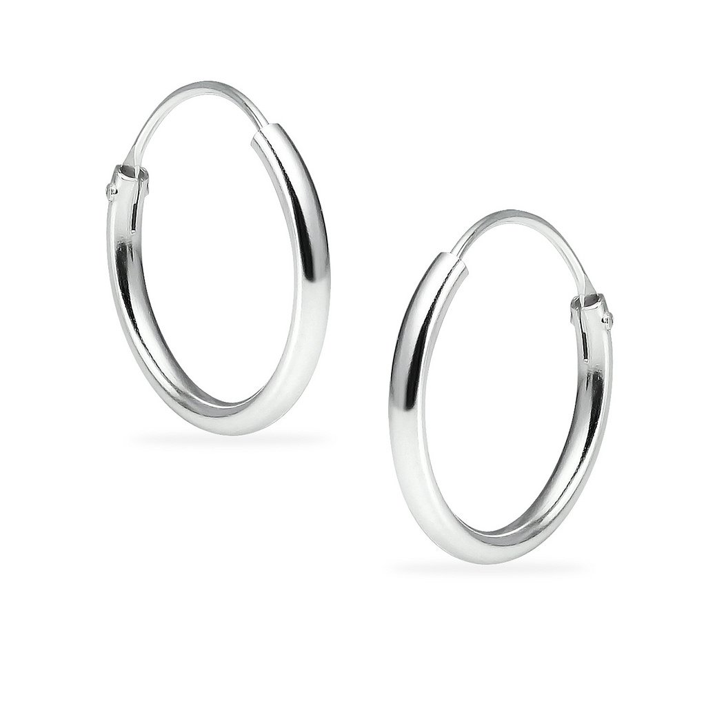 Silverline Jewelry Sterling Silver Endless Round Unisex Hoop Earrings Choose Your Size B07D2LJNHK_US