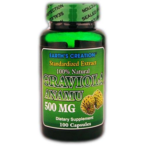 Graviola Anamu 500mg (800mg-200mg par portion) - 100% naturel, Guanabana, Guayabano - 100 Capsules