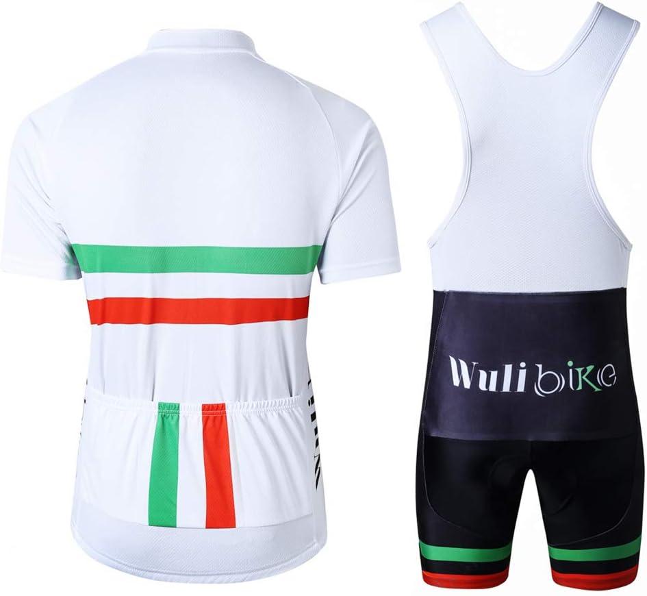 Pantaloncini Imbottiti Completo Bici da Corsa Estivo logas Tuta da Ciclismo Uomo MTB Maglia Bandiera Italiana Maniche Corte