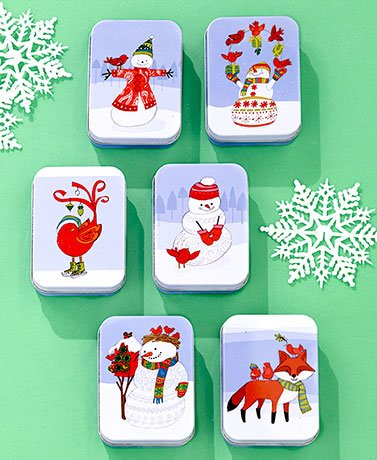 Sets of 6 Tin Gift Card Holders ( Snowman )