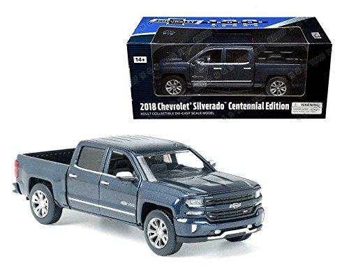 Motormax 79353BL 2018 Chevrolet Silverado LTZ Centennial 100 Years Anniversary Edition Blue 1/27 Diecast Model Car