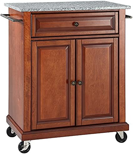 Crosley Furniture Cuisine Kitchen Island With Solid Grey Granite Top    Classic Cherry