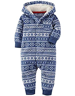 Carters Infant Boys Blue Fair Isle Hooded Fleece Jumpsuit Coverall Outfit
