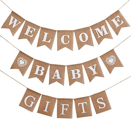 3 Pieces Welcome Baby Banner Gift Burlap Banner Baby Shower Banner Bunting Garland for Baby Shower Party Ornament Favors]()