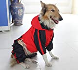 Pet Apparel Large Dog Clothing Raincoat Pet Clothes Rain Coat For Big Large Dogs Red Green Waterproof (L-S, Red)