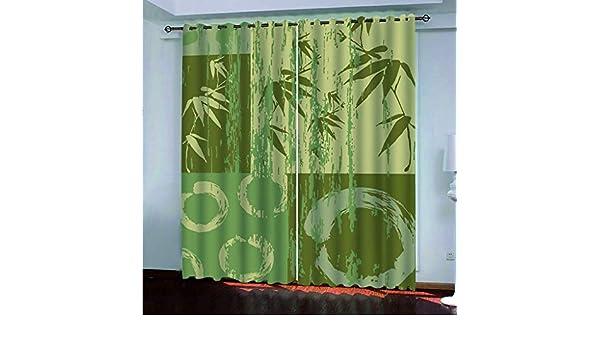 xszhqxxla Cortinas 3D del Dormitorio, Cortina Verde De La Pintura del Arte del Bambú, Sala De Estar De La Oficina Decoración De La Pared del Paisaje De La Escuela 108