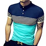 LOGEEYAR Mens Summer Slim Fit Contrast Color Stitching Stripe Short Sleeve Polo Casual T-Shirts(Large, 508-blue)