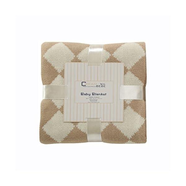Cream Bebe Argyle 100% Cotton Knit Baby Blanket, Camel/Ivory