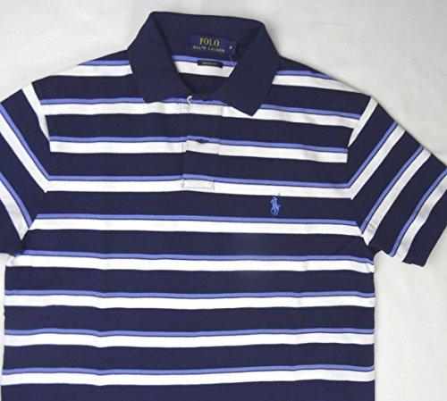 Ralph Lauren Herren Polo - Dunkelblau - Weißblau gestreift - Größe M