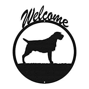 SWEN Products Wirehaired Pointing Griffon Black Metal Welcome Sign ~New~ 2