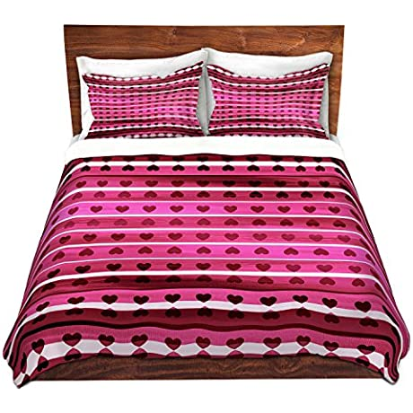 DiaNoche Designs Microfiber Duvet Covers Julia Di Sano Heart Love Pink