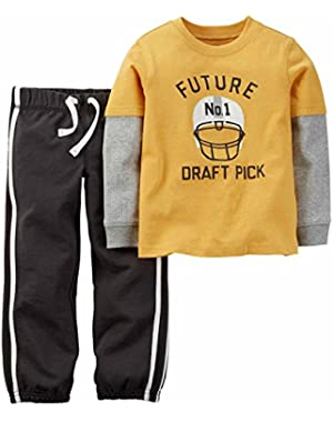 Carters Infant Boys Future #1 Draft Pick Football Shirt & Pants 2 PC Outfit