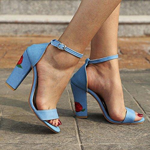Lolittas Des Bloc Soirée Bleu Cuir Moulantes Ouvert Dos Écharpe Coupe Haut D'été Cheville Talon Taille Femmes Large Gladiator 10 Sandales 2 Bout En wrqIx7gr