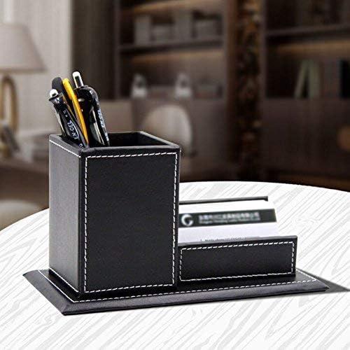 Stifthalter mit Visitenkartenhalter für Office Büro Schreibwaren Visitenkarten Lagerung Multifunktional Stifteköcher Kunstleder Schwarz und Kaffeebrau