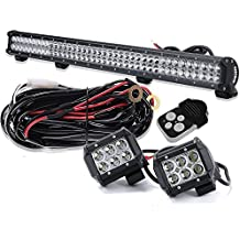 "DakRide 234W 36"" Inch LED Light Bar Offroad Spot Flood Combo Beam w/ 3lead Wiring Harness Kits & Remote Control + 2x 4"" LED Pods Cube for Boat Tractor Truck 4x4 SUV ATV 4WD Jeep Wrangler Ford Pickup"