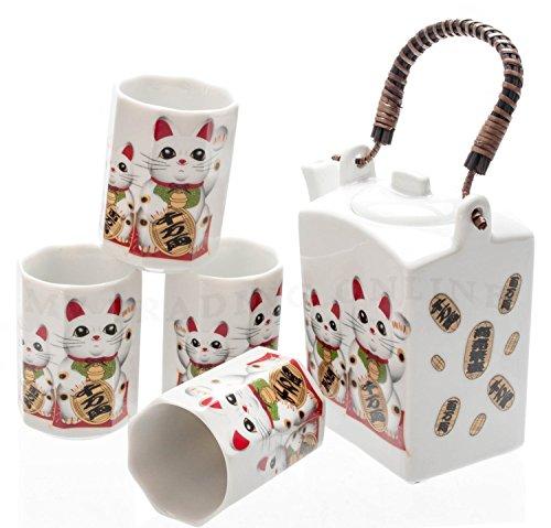 5 Piece Tea Service (Japanese 5-Pieces Maneki Neko Cat Tea Set with Unique Design)