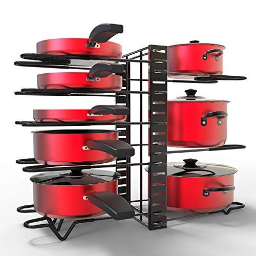 Pot/Pan Rack Organizer with Adjustable 8 Dividers 3 DIY Methods Pan Holder, GLADFRESIT Black Cookware Rack for Cabinet Countertop Pantry Kitchen Dishes Lids Space Saver