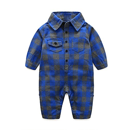 Infant Baby Boys Long Sleeve Button Down Plaid Flannel Romper Jumpsuit with Pocket Outfits (Dark Blue, 70/0-6 ()