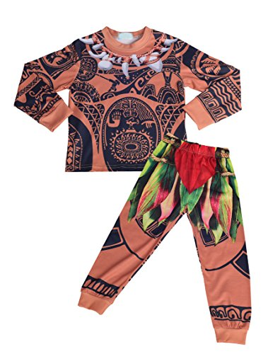 No Costume Halloween Party (Dressy Daisy Boy's Moana Maui Pajamas Halloween Dress Up Costumes Fancy Party Outfit Size 5)