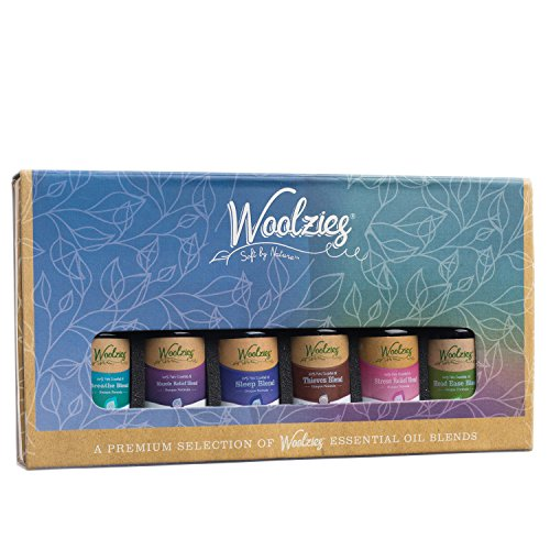 Woolzies Essential Oil Gift Set Of 6 Therapeutic Essential Oils  Good Night  Breathe   Pain Relief  Head Ease  Stress Relief  Thieves Blend Of Essential Oils