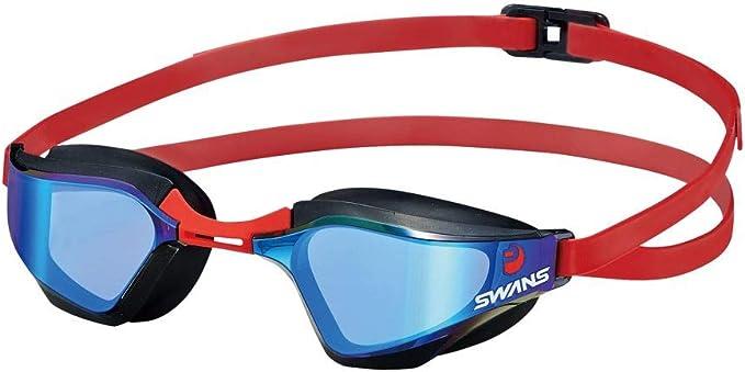 Óculos de Natação SWANS SR-72M Lente Curvada Espelhada Fumê com Correia Vermelho