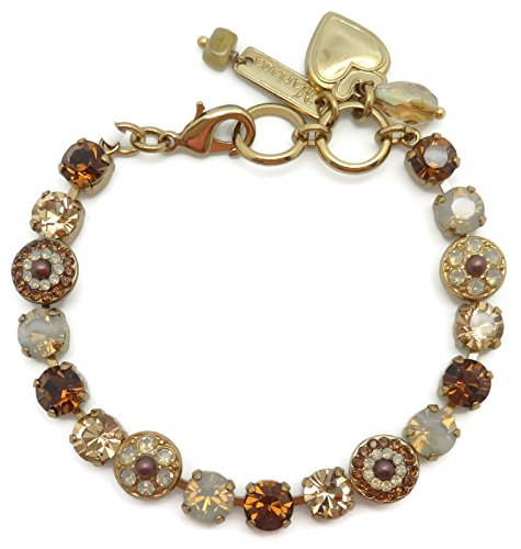 Mariana English Goldtone Swarovski Crystal Bracelet Brown Mix Circle Mosaic 1318 Odyssey (Brass Link Chain Circle Necklace)