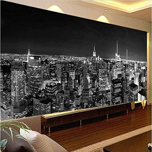 Ljunj 3D壁画カスタム写真壁紙壁画夜景ニューヨーク市白黒の建物壁紙モダンなリビングルーム壁画壁紙-400X280Cm